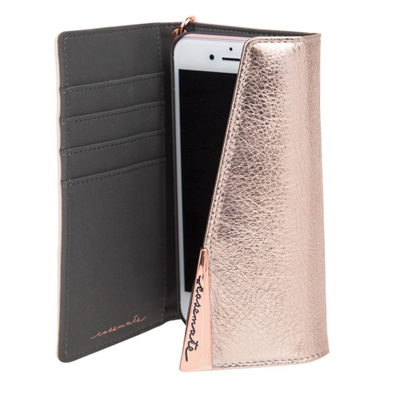 Case-Mate Wristlet Folio Case For iPhone 7 Rose Gold Open