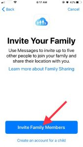 Click on Invite your Family