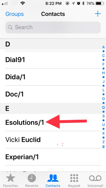 Select the contact to whom you want to assign a unique ringtone.