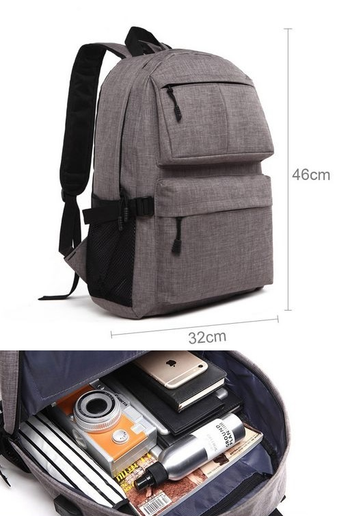 15.6 Inch Laptop Travel Backpack With USB Charging Port Grey