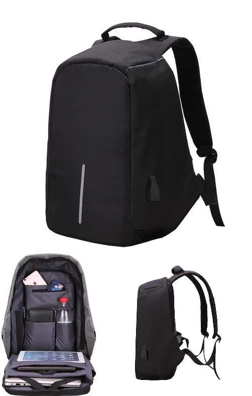 Large Capacity Laptop Backpack With USB Charging Port Black