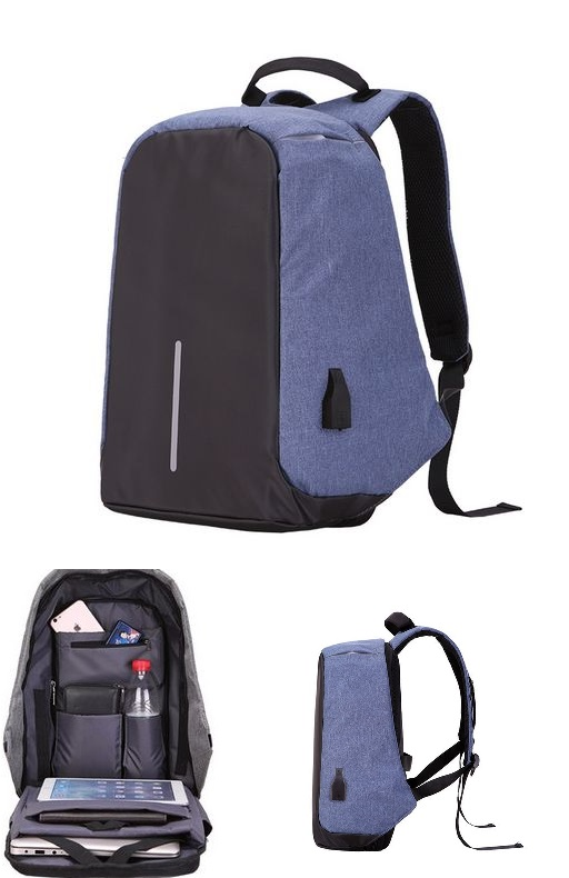 Large Capacity Laptop Backpack With USB Charging Port Blue