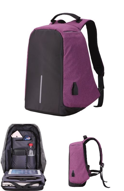 Large Capacity Laptop Backpack With USB Charging Port Purple