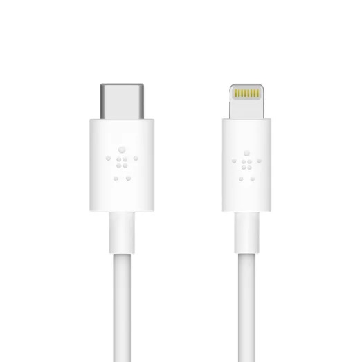 Belkin BOOSTCHARGE USB-C Cable with Lightning Connector White