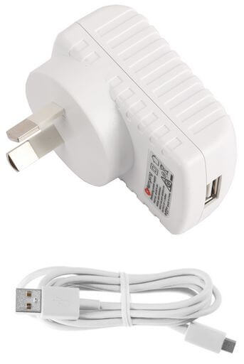 2.4 Amp Micro USB AC Mains Charger White Detachable Cable