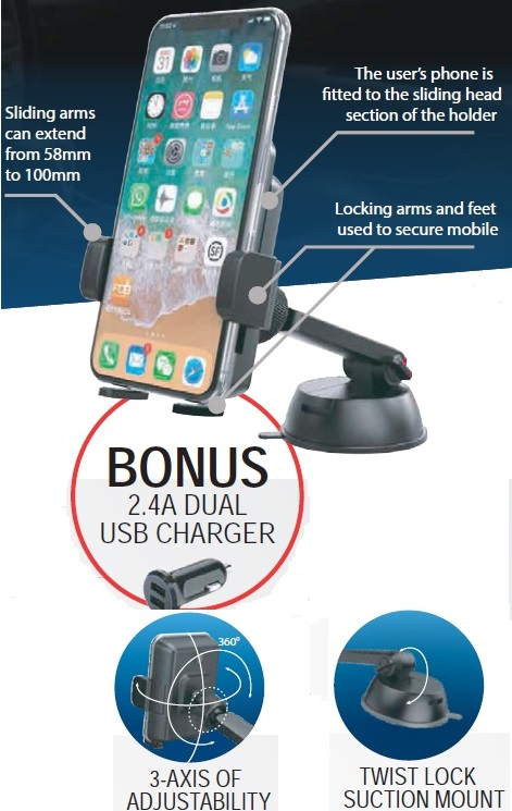 Qi Wireless Charger With Suction Mount Phone Holder
