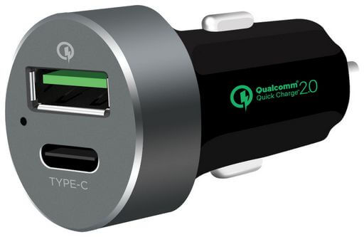 Quick Charge 2.0 Car Charger With USB Type-C