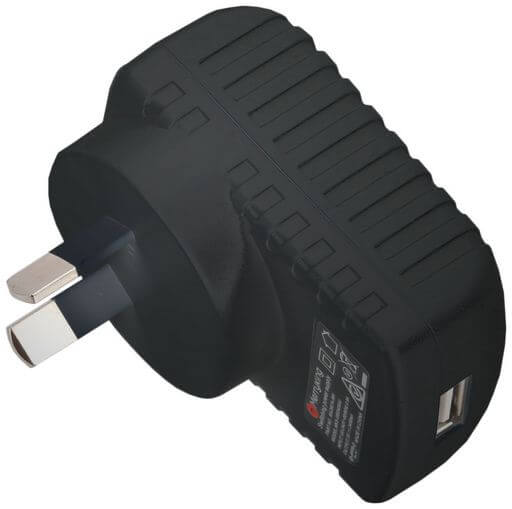 12W USB Mains Charger Black