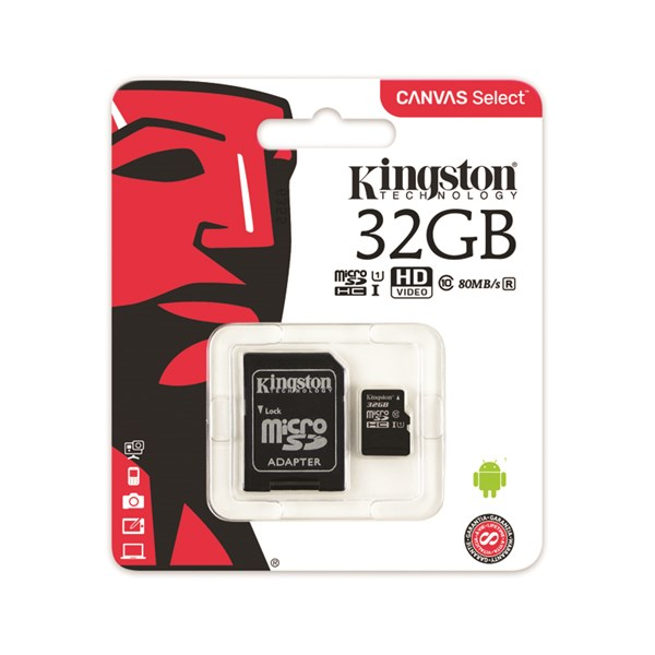 Kingston 32GB microSDHC Canvas Select CL10 UHS-I Card + SD Adapter