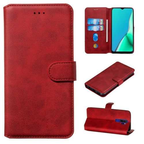 Oppo A5 2020 PU Leather Case Red