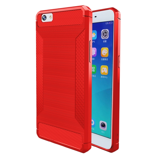 OPPO A57 Brushed Carbon Fibre Texture TPU Protective Case Red
