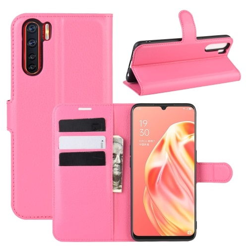 Oppo A91 PU Leather Case Pink