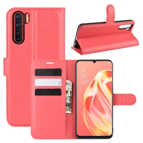 Oppo A91 PU Leather Case Red