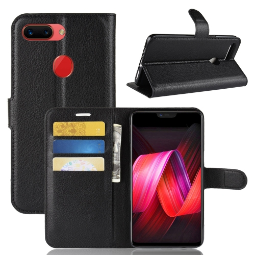 Synthetic Leather Wallet Case with Stand for OPPO R15 Pro Black
