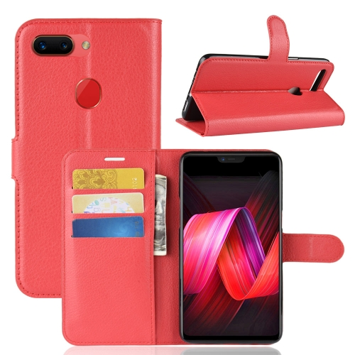 Synthetic Leather Wallet Case with Stand for OPPO R15 Pro Red