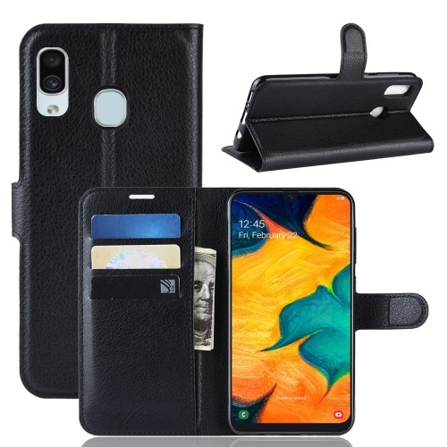 Samsung Galaxy A20 PU Leather Case Black