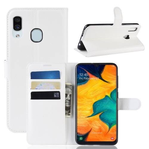 Samsung Galaxy A20 PU Leather Case White