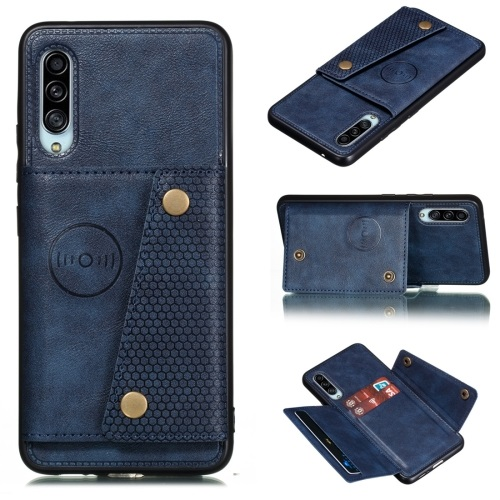 Galaxy A90 5G PU And TPU Case with Card Slots Blue