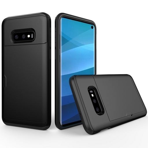 Hard Shell Case With Card Holder For Samsung Galaxy S10e Black