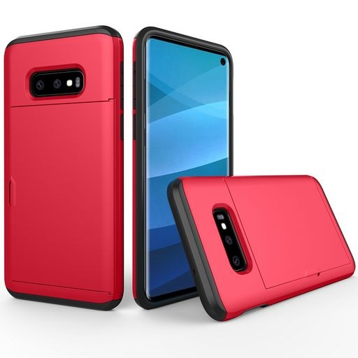 Hard Shell Case With Card Holder For Samsung Galaxy S10e Red