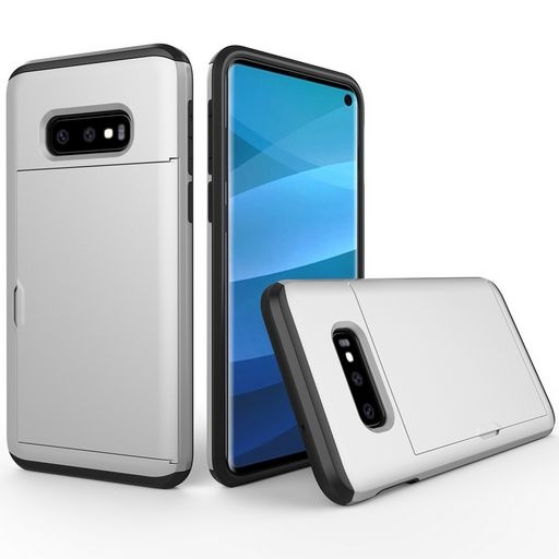 Hard Shell Case With Card Holder For Samsung Galaxy S10eSilver