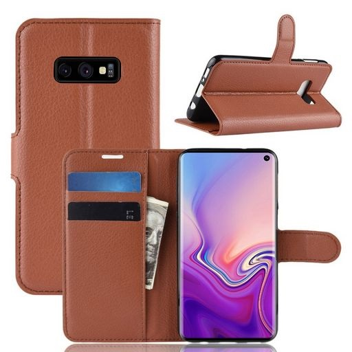 PU Leather Case For Galaxy S10e Brown