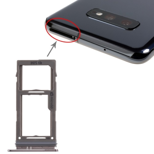 SIM Card Tray With Micro SD Card Tray for Galaxy S10+ / S10 / S10e Black