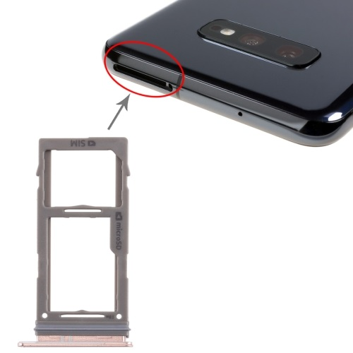 SIM Card Tray With Micro SD Card Tray for Galaxy S10+ / S10 / S10e Rose Gold