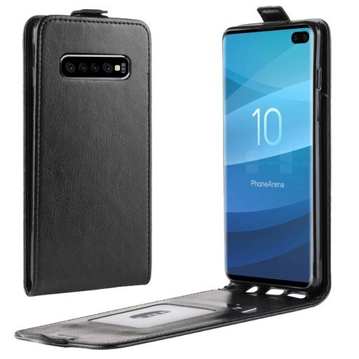 Vertical Flip PU Leather Case For Galaxy S10+ Black