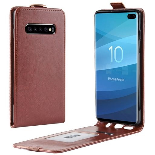 Vertical Flip PU Leather Case For Galaxy S10+ Brown
