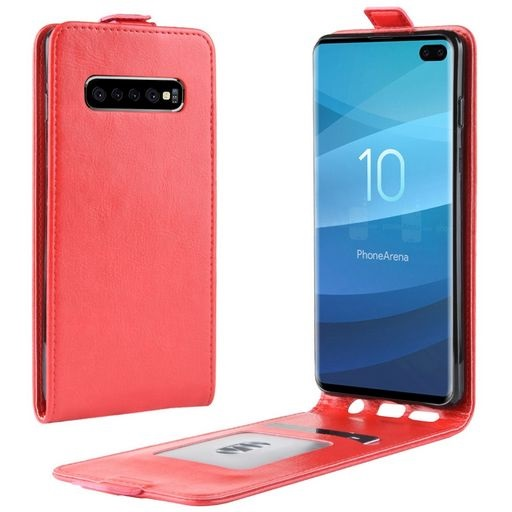 Vertical Flip PU Leather Case For Galaxy S10+ Red